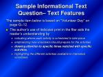 sample informational text question text features
