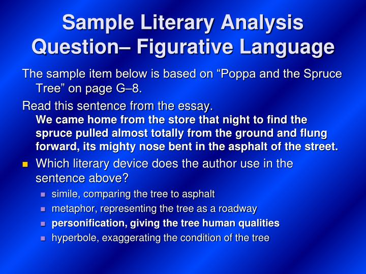 Sample Literary Analysis Question– Figurative Language