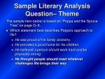 sample literary analysis question theme