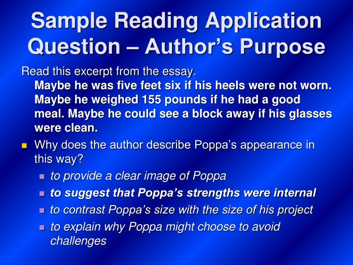 Sample Reading Application Question – Author's Purpose