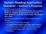 sample reading application question author s purpose