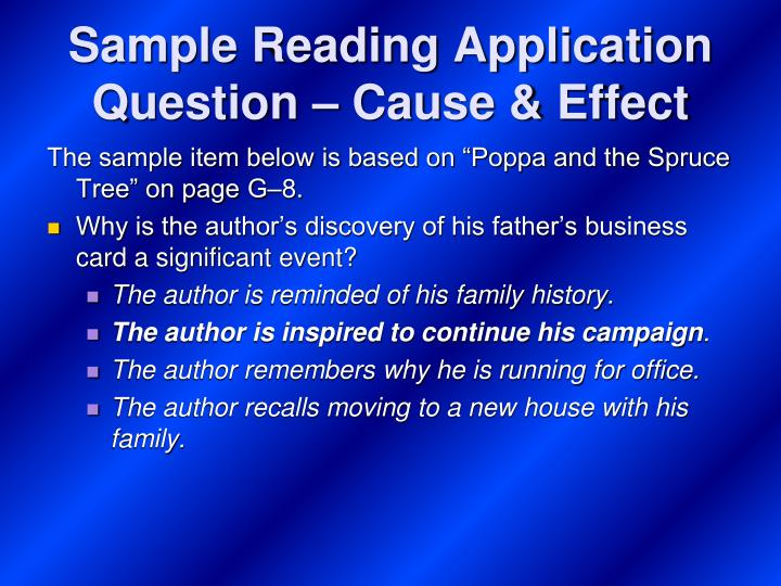 Sample Reading Application Question – Cause & Effect