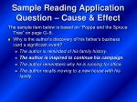 sample reading application question cause effect