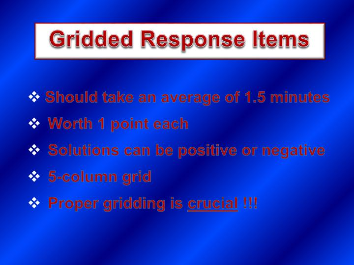 Gridded Response Items