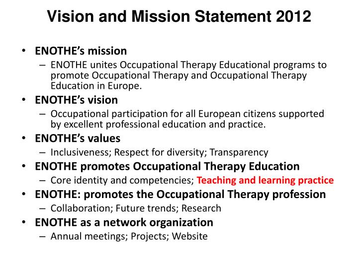 Vision and Mission Statement 2012