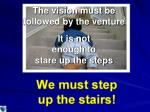 the vision must be followed by the venture it is not enough to stare up the steps