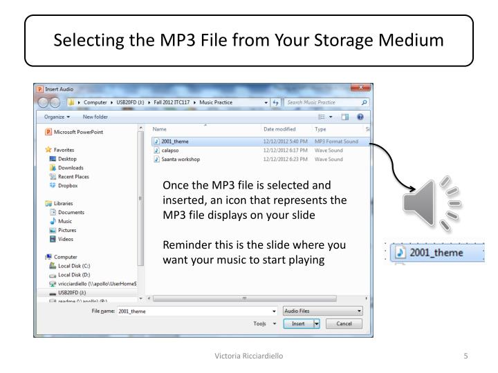 Once the MP3 file is selected and inserted, an icon that represents the MP3 file displays on your slide