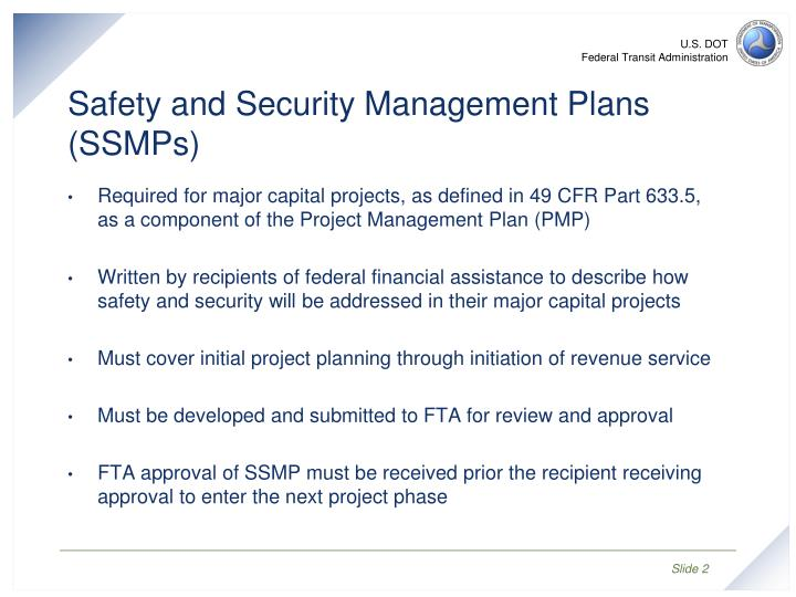 Safety and security management plans ssmps