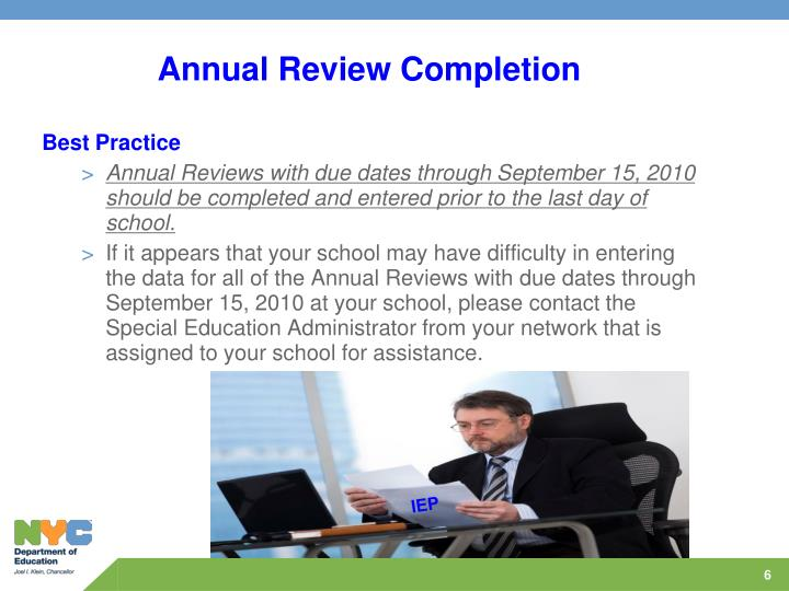 Annual Review Completion