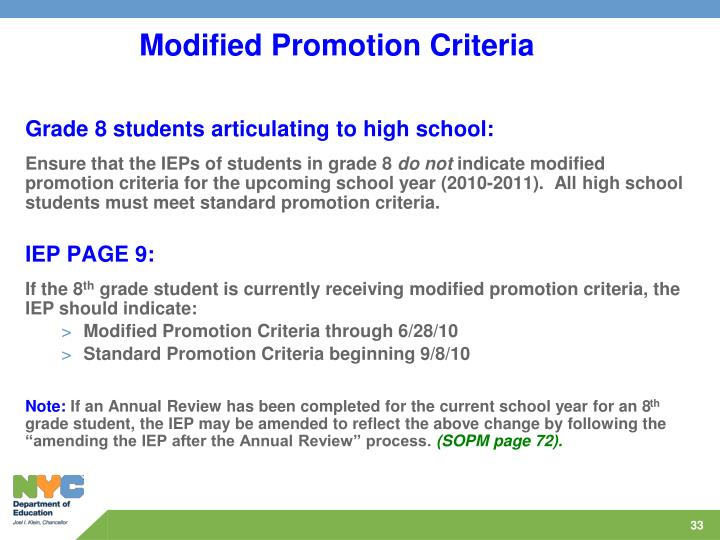 Modified Promotion Criteria