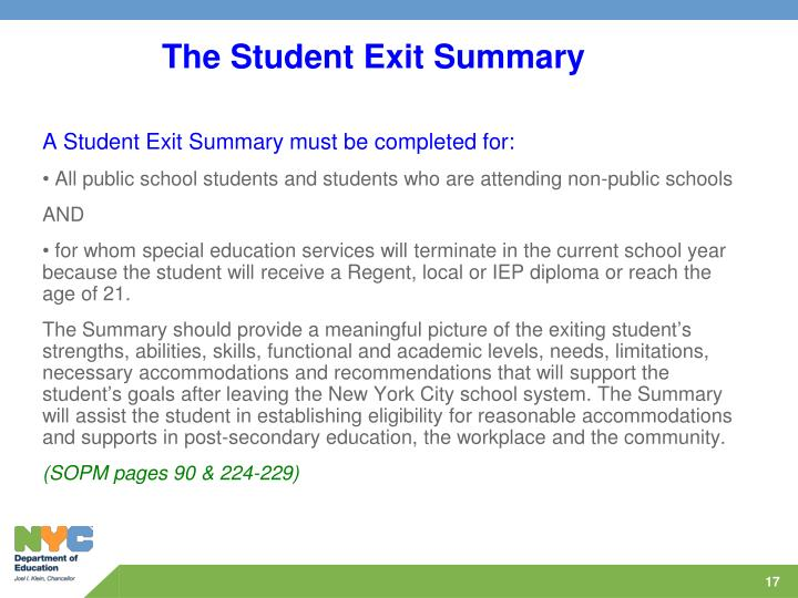 The Student Exit Summary