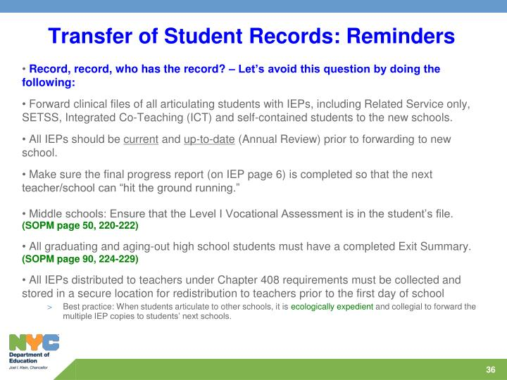 Transfer of Student Records: Reminders