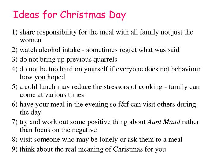 Ideas for Christmas Day