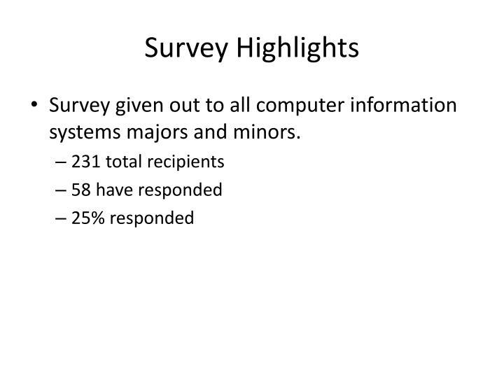 Survey Highlights