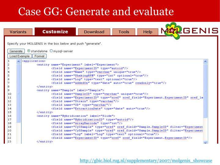 Case GG: Generate and evaluate