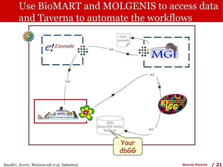 Use BioMART and MOLGENIS to access data and Taverna to automate the workflows