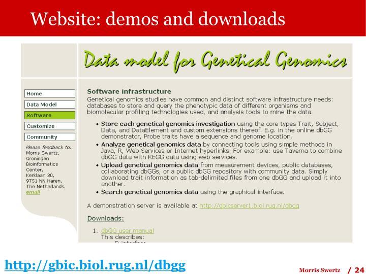 Website: demos and downloads