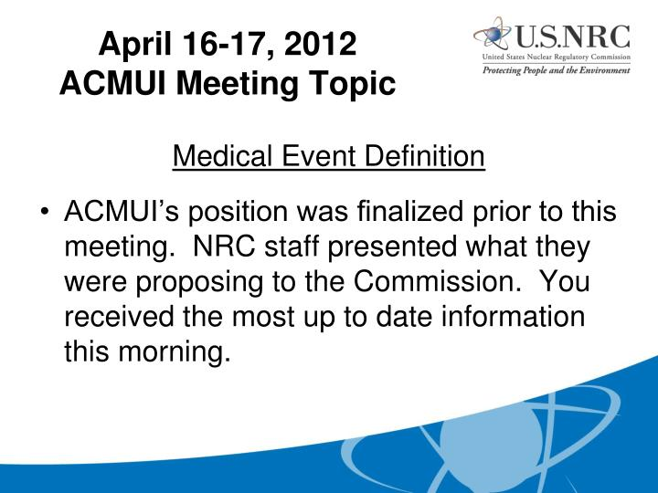 Medical Event Definition