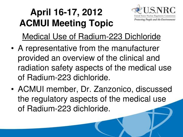 Medical Use of Radium-223 Dichloride