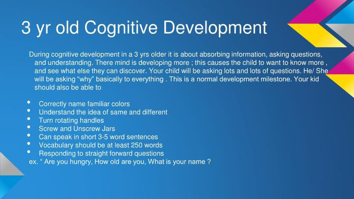 3 yr old cognitive development