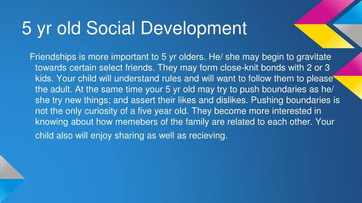 5 yr old Social Development
