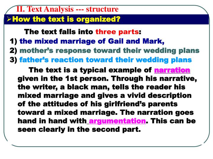II. Text Analysis --- structure