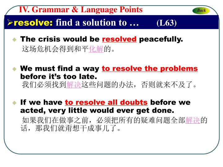 IV. Grammar & Language Points