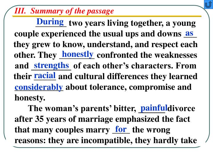 III.  Summary of the passage