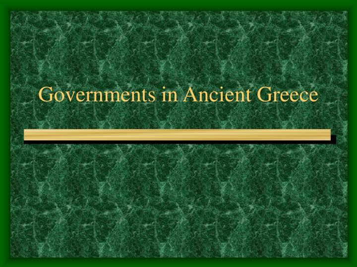 Governments in ancient greece