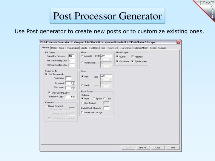 Post Processor Generator