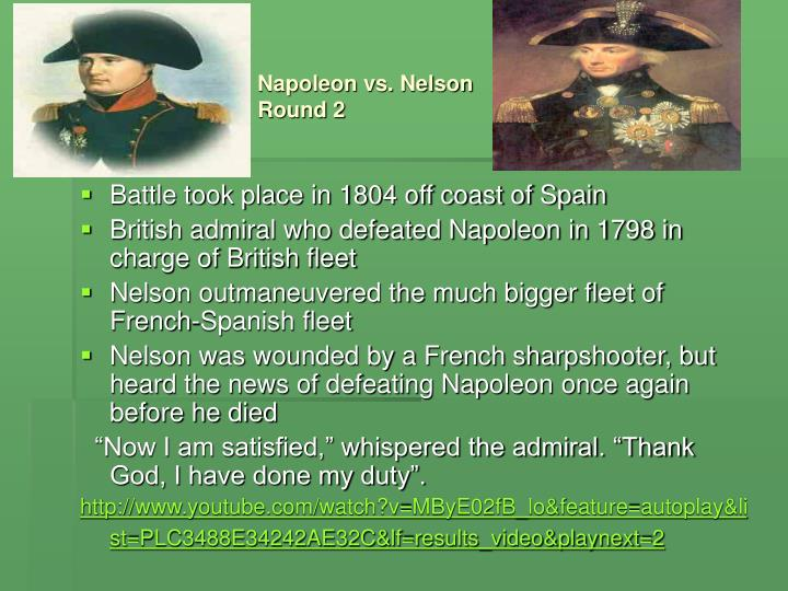 Napoleon vs. Nelson      Round 2