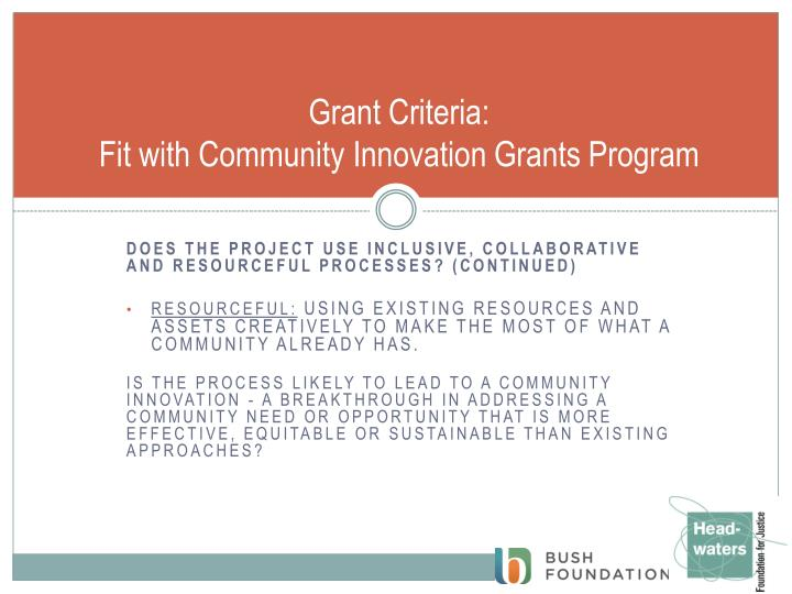 Grant Criteria: