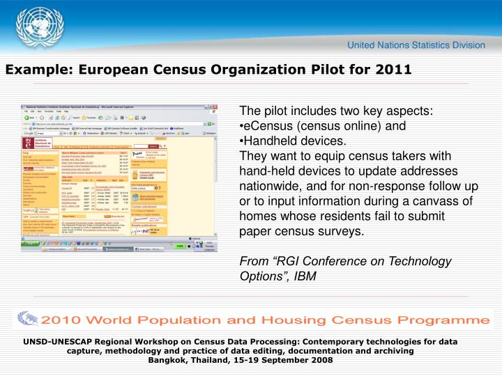 Example: European Census Organization Pilot for 2011