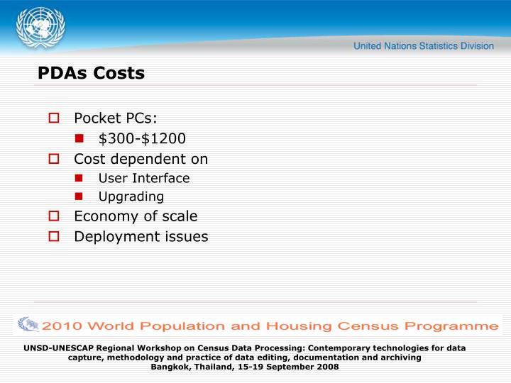 PDAs Costs