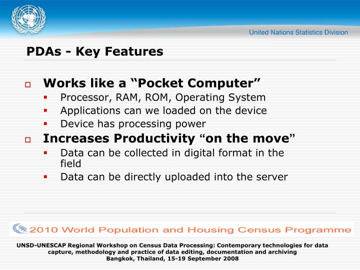 PDAs - Key Features