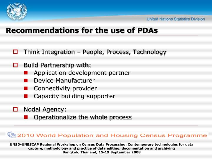 Recommendations for the use of PDAs