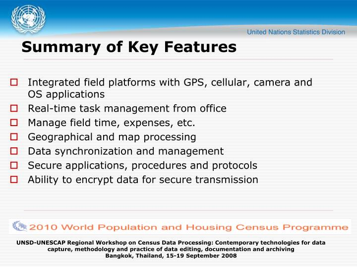 Summary of Key Features