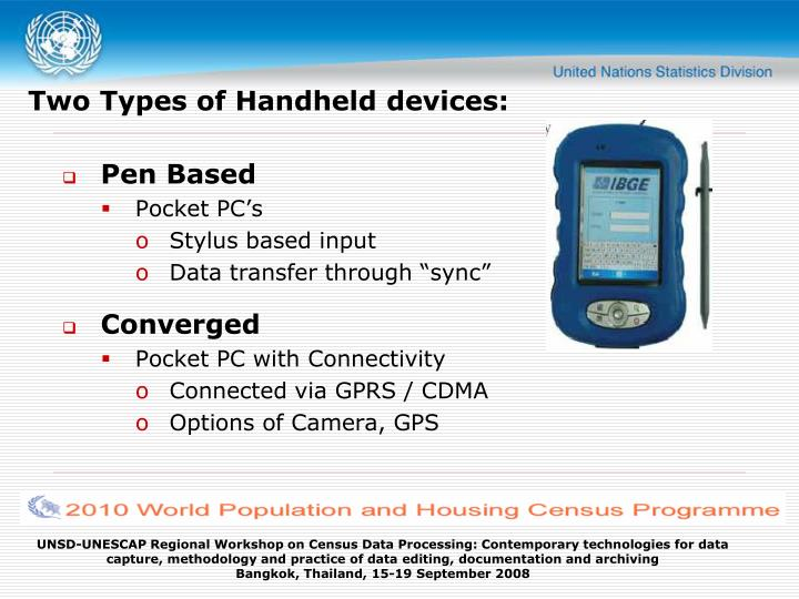 Two Types of Handheld devices: