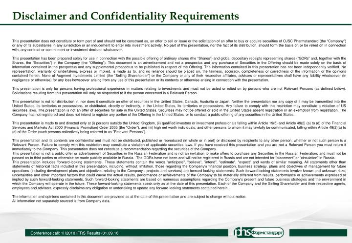 Disclaimer and Confidentiality Requirements