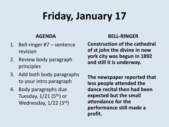 Friday, January 17