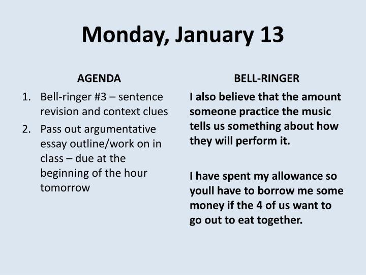 Monday, January 13