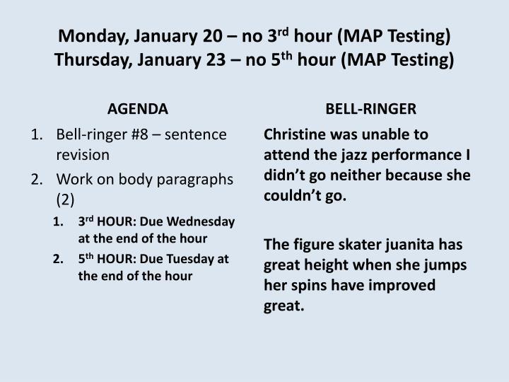 Monday, January 20 – no 3