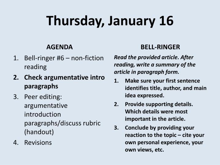 Thursday, January 16