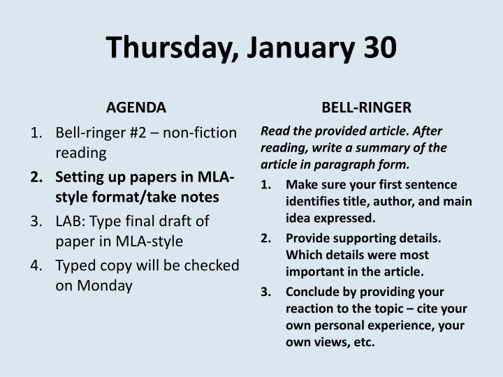 Thursday, January 30
