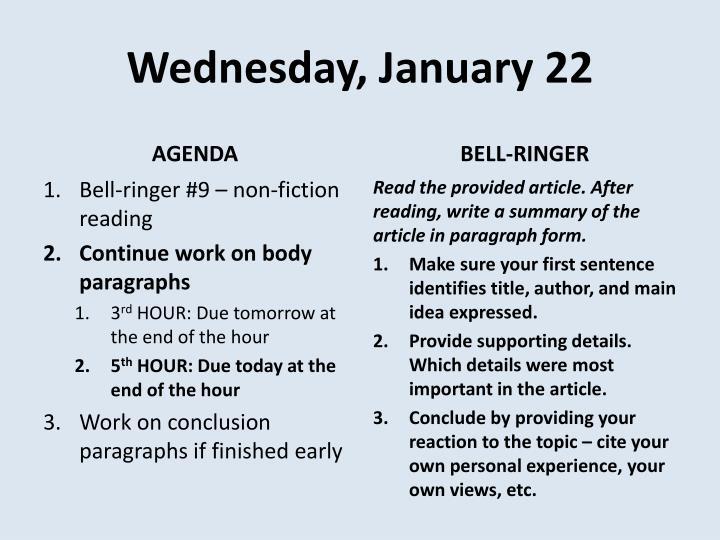Wednesday, January 22