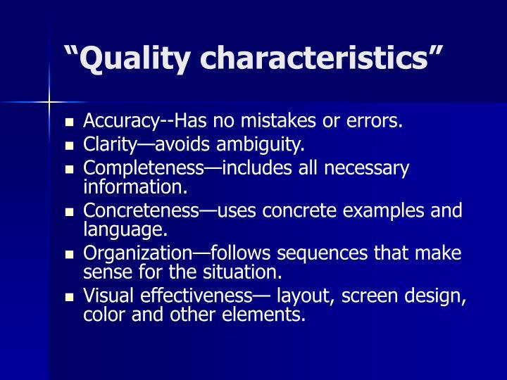 """""""Quality characteristics"""""""