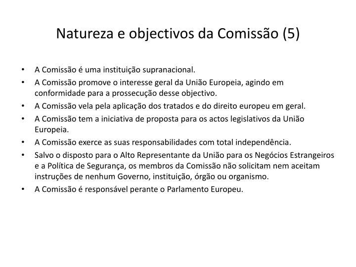 Natureza e objectivos da Comissão (5)