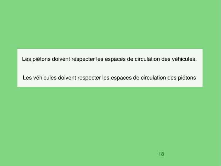 Les piétons doivent respecter les espaces de circulation des véhicules.