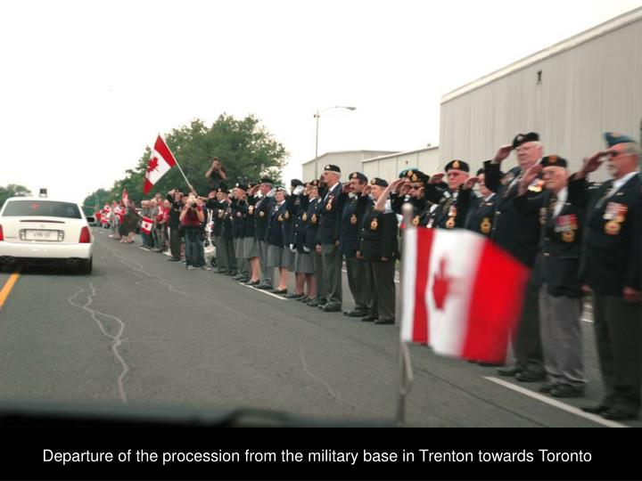 Departure of the procession from the military base in Trenton towards Toronto