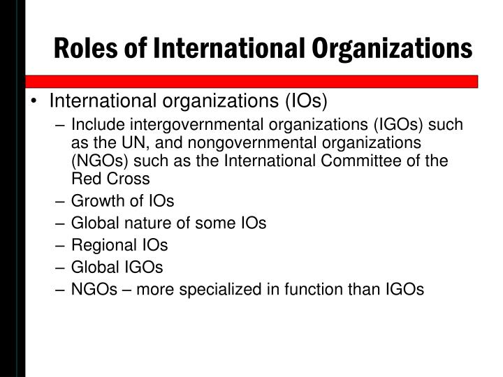 Roles of International Organizations